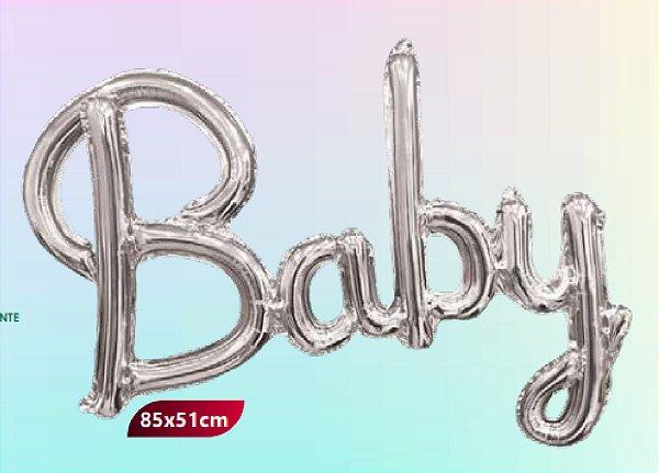 Balão Metalizado Escrita  Baby - Prata