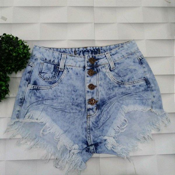 Shorts Jeans Claro Desfiado 4 Botões