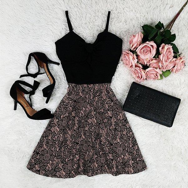 Vestido Rodado Flores com Bojo