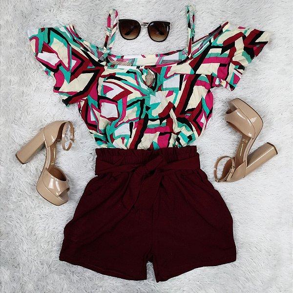 Shorts Liso com Amarra na Cintura