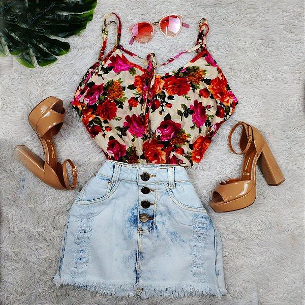 Blusinha Estampa em Rosas
