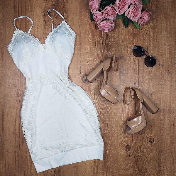 Vestido Arrastão de Alcinha Off White