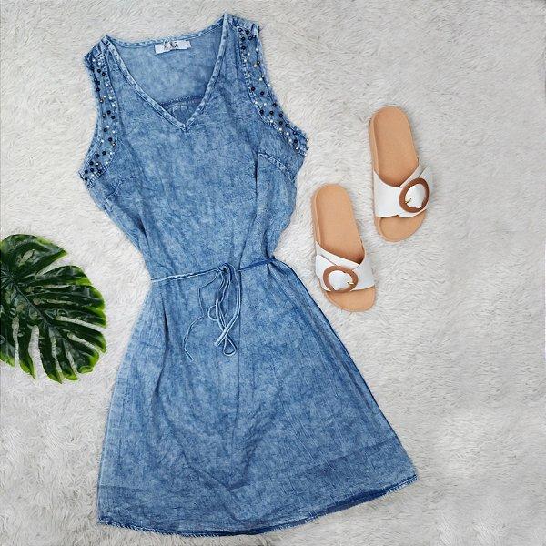 Vestido Jeans com Pérolas na Alça