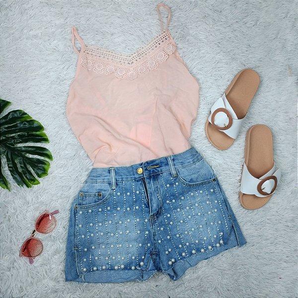 Shorts Azul Claro com Pérolas