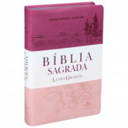 Bíblia sagrada Letra Gigante triotone pink Almeida Revista e Atualizada