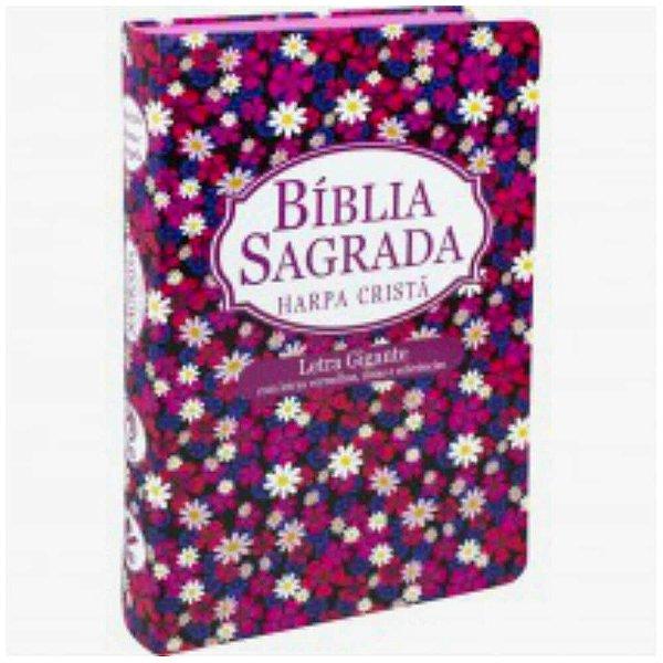 Bíblia Sagrada com Harpa cristã / Letra gigante / Almeida Revista e Corrigida /  Capa semi flexível flor / SBB
