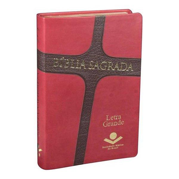 Bíblia Sagrada Cruz / Almeida Revista e Corrigida / vermelho e marrom escuro / letra grande / SBB