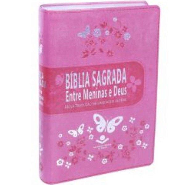 Bíblia Sagrada Entre Meninas e Deus / NTLH / Rosa borboleta / borda prateada / SBB