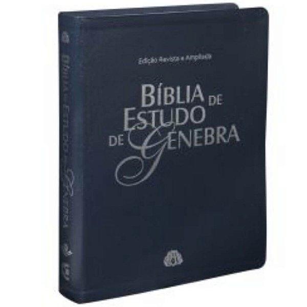 Bíblia de Estudo de Genebra / Edição Revisada e ampliada /couro bonded /Azul / SBB