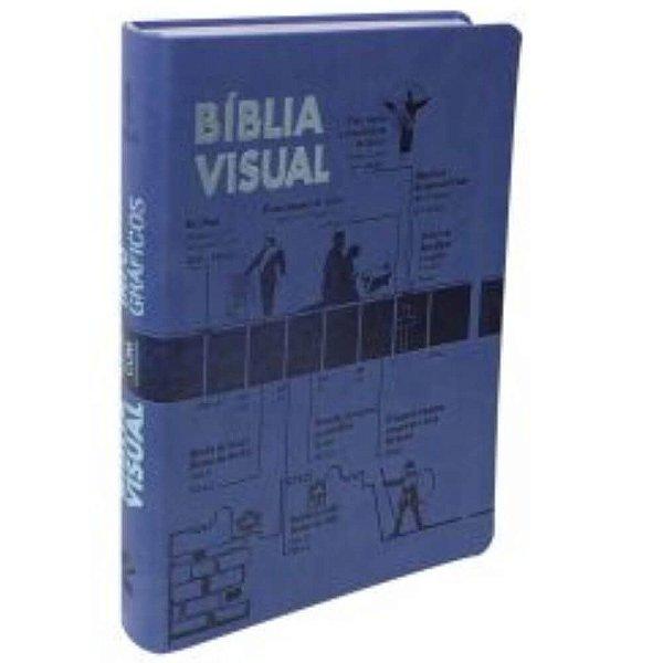 Bíblia Visual com Infográficos / NTLH /  grande / capa azul borda prateada / SBB