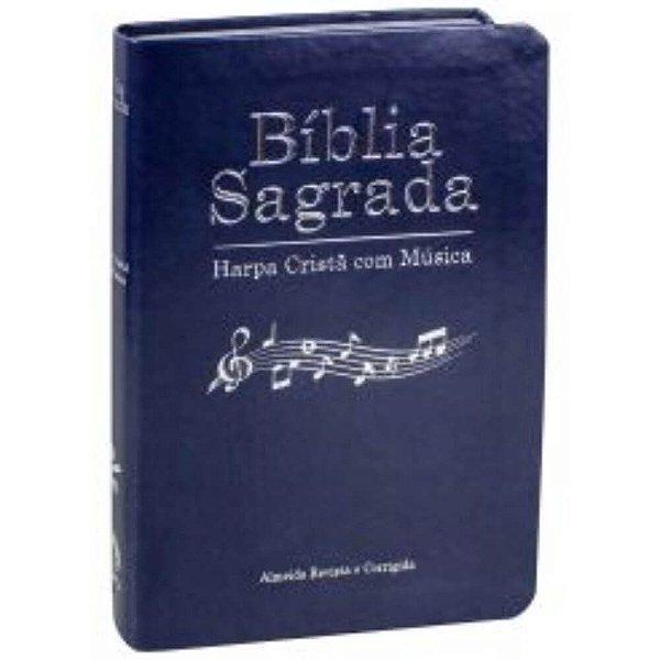 Bíblia Sagrada Harpa Cristã com Música / Almeida Revista e Corrigida/ capa azul  borda prateada / SBB