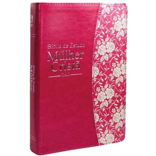 Bíblia de Estudo da Mulher Cristã / Almeida Revista e Corrigida / capa ilustrada rosa borda dourada / CPAD
