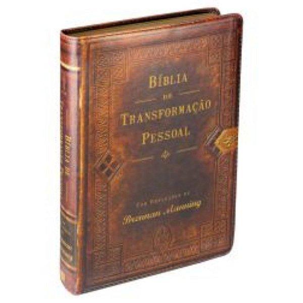Bíblia de Transformação Pessoal NTLH capa marrom borda dourada MC