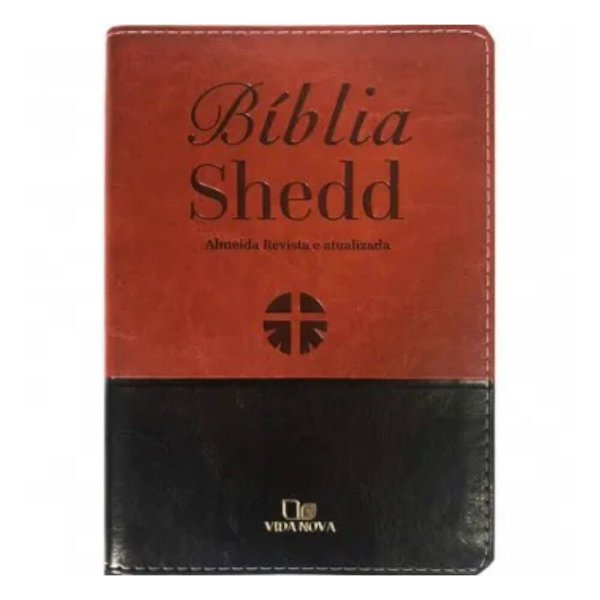 Bíblia Shedd Almeida Revista e Atualizada Capa marrom preta borda dourada / Editora Vida Nova