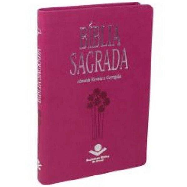Bíblia Sagrada Slin Almeida revista e corrigida capa couro sintético cor Pink Fuxia com borda prateada SBB