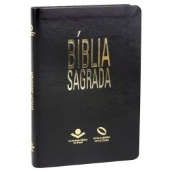 Bíblia Sagrada Ultra fina Nova Almeida Atualizada capa couro sintético cor Peta nobre com borda dourada SBB