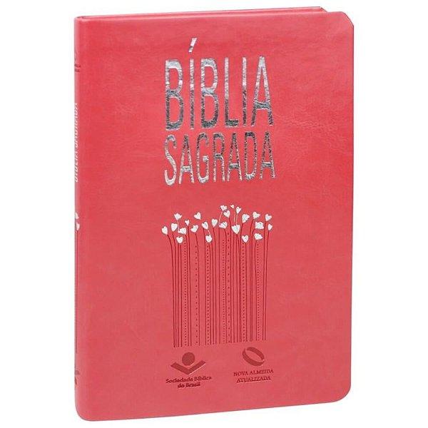 Bíblia Sagrada Ultra fina Nova Almeida Atualizada capa couro sintético cor Pêssego com borda prateada SBB