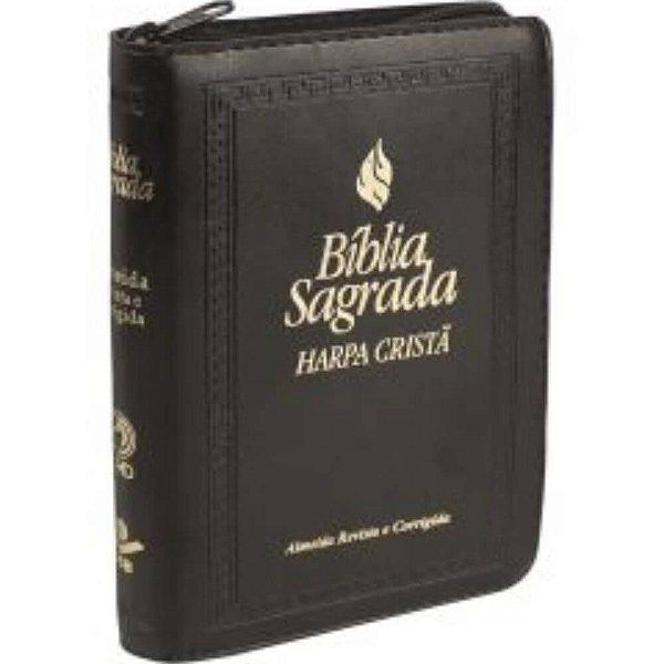 Bíblia Sagrada com harpa cristã - Almeida Revista e Corrigida - letra normal - capa preta - zíper - SBB