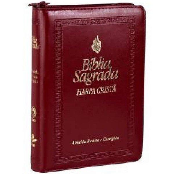 Bíblia Sagrada com harpa cristã - Almeida Revista e Corrigida - letra normal - Capa vinho frank - zíper – SBB