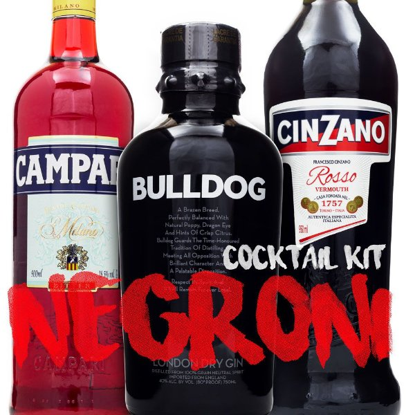 Kit Cocktail Negroni - Bulldog Gin - Campari - Cinzano Rosso