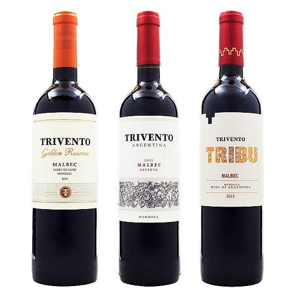 Vinho Trivento Golden Reserve Malbec + Trivento Malbec Reserve + Trivento Tribu Malbec 750ml