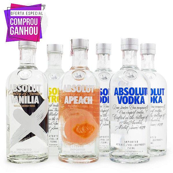 Combo Vodka Absolut 750ml - Ganhe 6 Taças Exclusivas