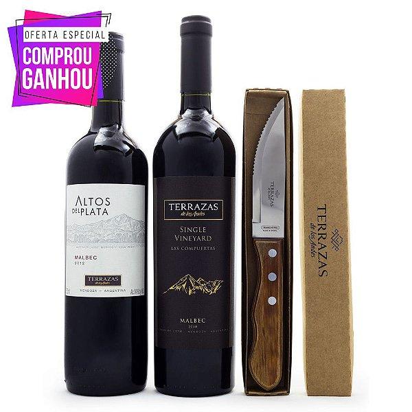 Vinho Terrazas de los Andes Single Vineyard Malbec + Altos del Plata + 2 Facas