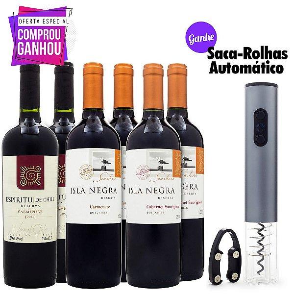 6un Vinhos Chilenos - Ganhe Saca-Rolha Automático