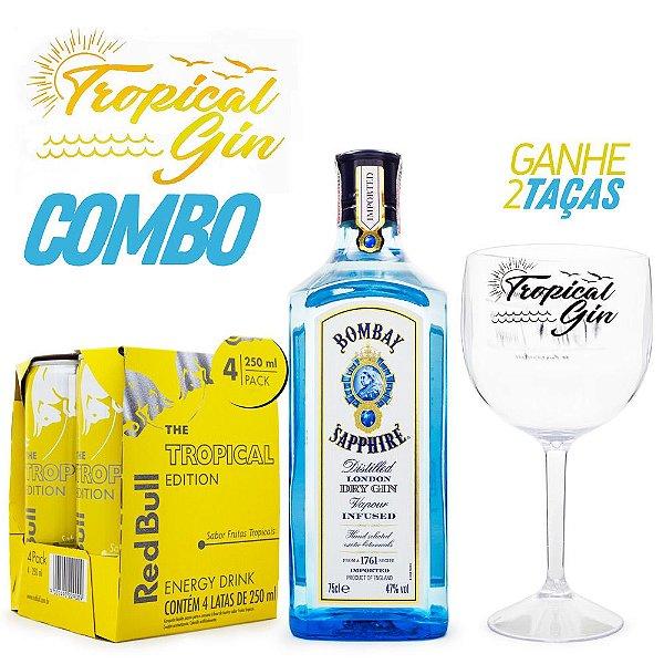 Combo Tropical Gin - Bombay Sapphire + Red Bull Tropical + Taças
