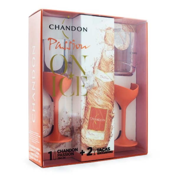 Kit Espumante Chandon Passion Rosé Demi-Sec + 2 Taças