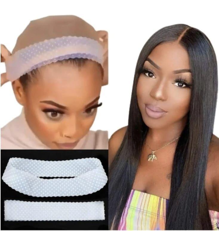 Faixa Hair Grip Band De Silicone Marrom / Bege/branco