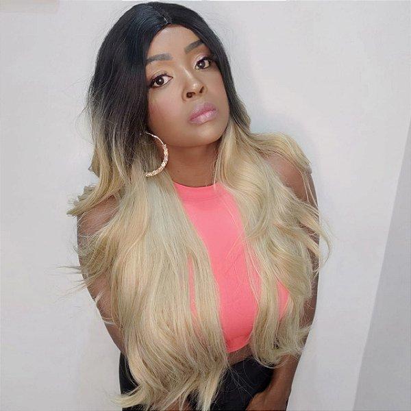 Peruca wig Loock ombre loira  (fibra futura)