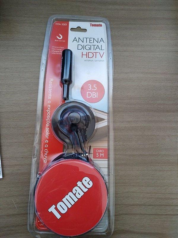 ANTENA DIGITAL HDTV INTERNA EXTERNA 3.5DBI BASE COM IMÃ TOMATE MTA-3003