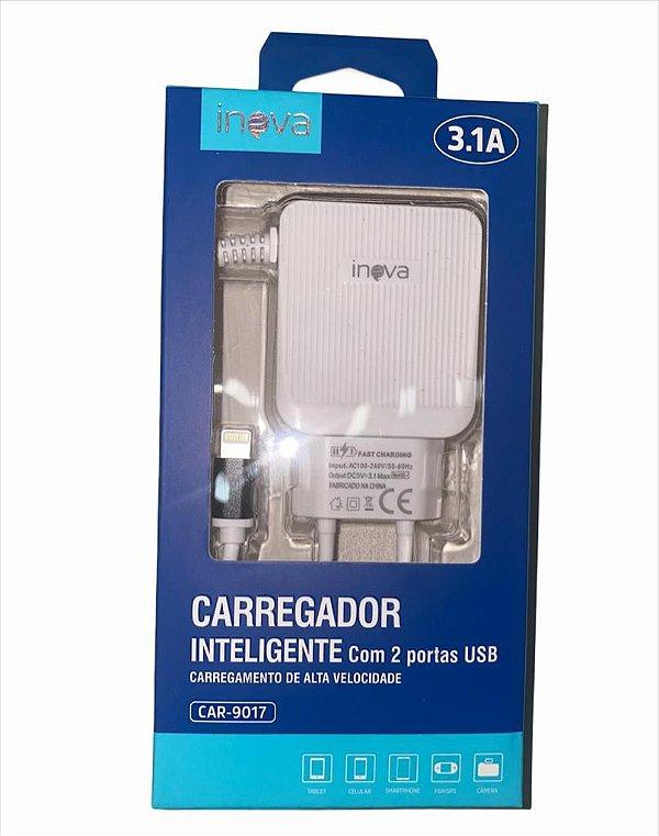 CARREGADOR INTELIGENTE INOVA LIGHTNING (IPHONE) 3.1A 2 USB CAR-9017