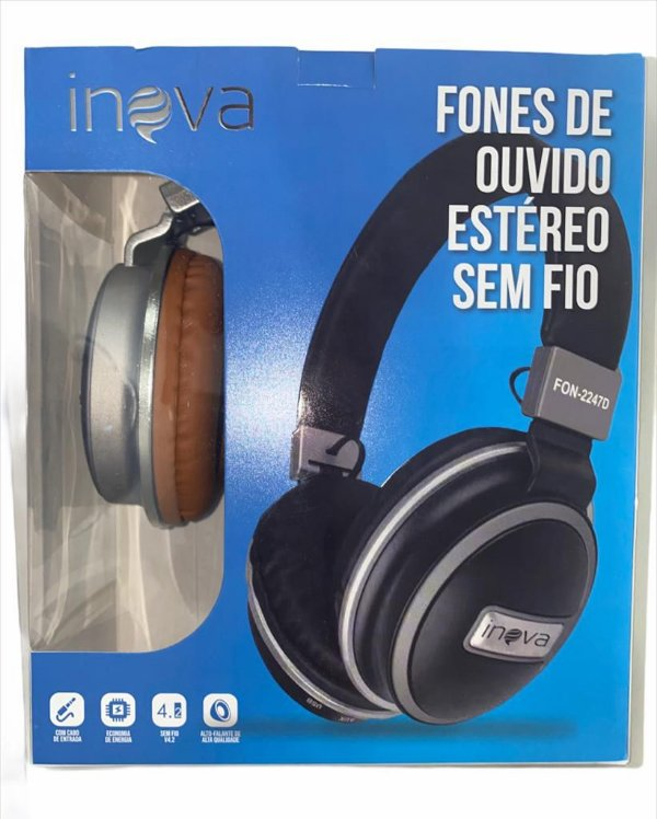 FONE DE OUVIDO BLUETOOTH COM ENTRADA AUX 4.2 + EDR INOVA FON-2247D