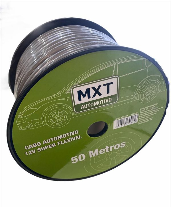 CABO AUTOMOTIVO 12V SUPER FLEXIVEL 4 AWG OD:21.1MM ROLO 50M CCA MARROM MXT