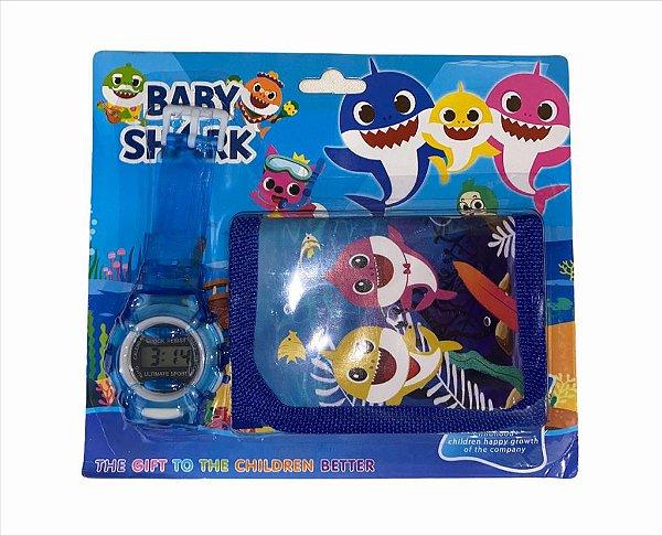 RELOGIO INFANTIL COM CARTEIRA BABY SHARK GO-301C