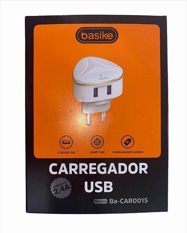 FONTE PAREDE BASIKE 5V 2.4A 2 USB BA-CAR0015