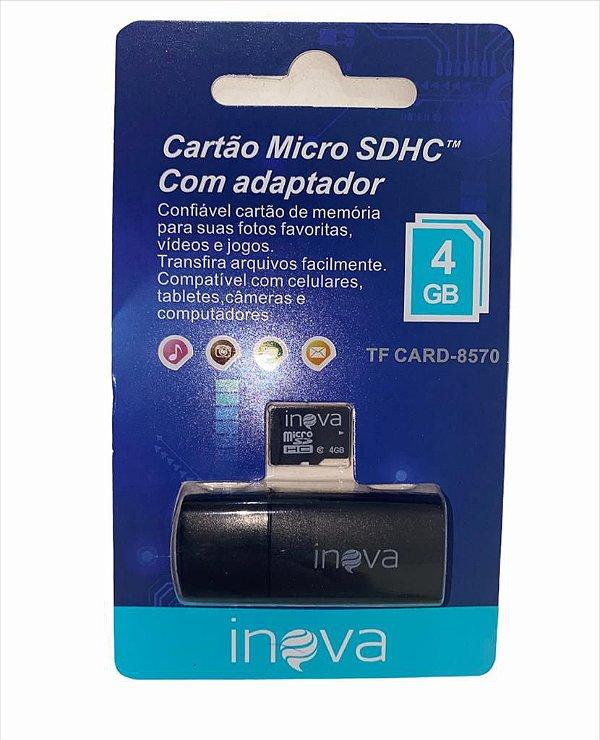 CARTÃO DE MEMORIA 4GB COM ADAPTADOR INOVA TF CARD-8570