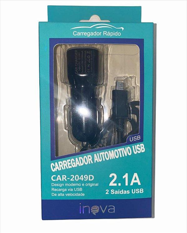 CARREGADOR VEICULAR 2 USB 2.1A COM CABO V8 INOVA CAR-2049