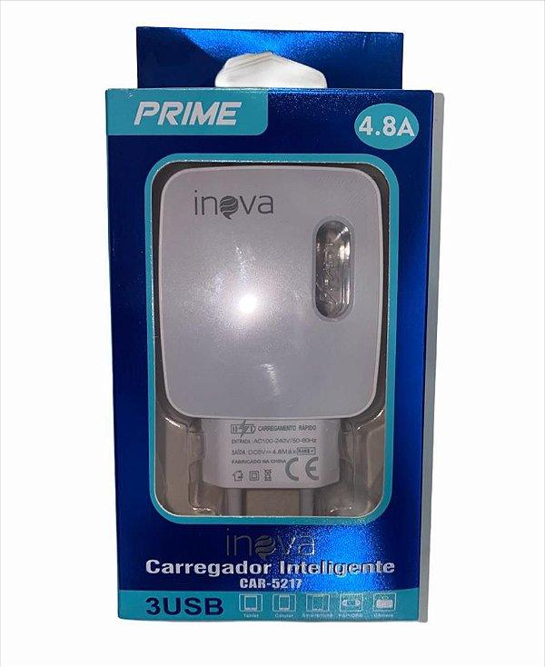 FONTE CARREGADOR INTELIGENTE INOVA PRIME 4.8A 3 USB CAR-5217