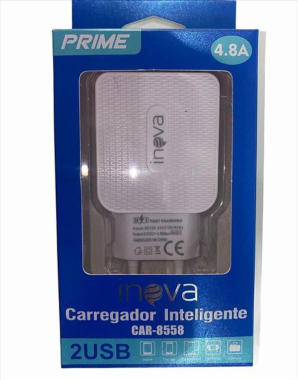 FONTE CARREGADOR INTELIGENTE INOVA PRIME 4.8A 2 USB CAR-8558