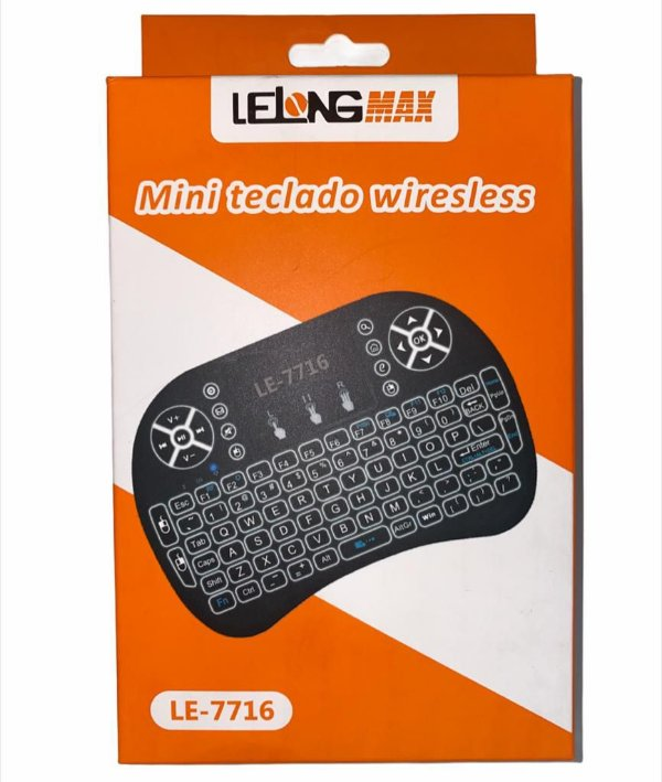MINI TECLADO LELONG COM LED WIRELESS PARA TV SMART / ANDROID BOX / PC LE-7716