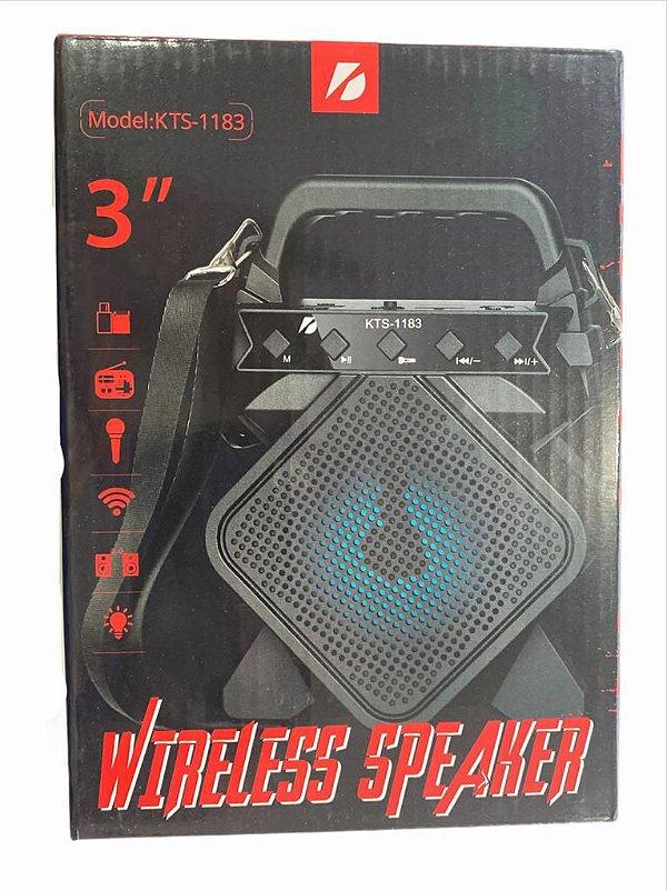 """CAIXA DE SOM WIRELESS SPEAKER 3"""" KTS-1183"""
