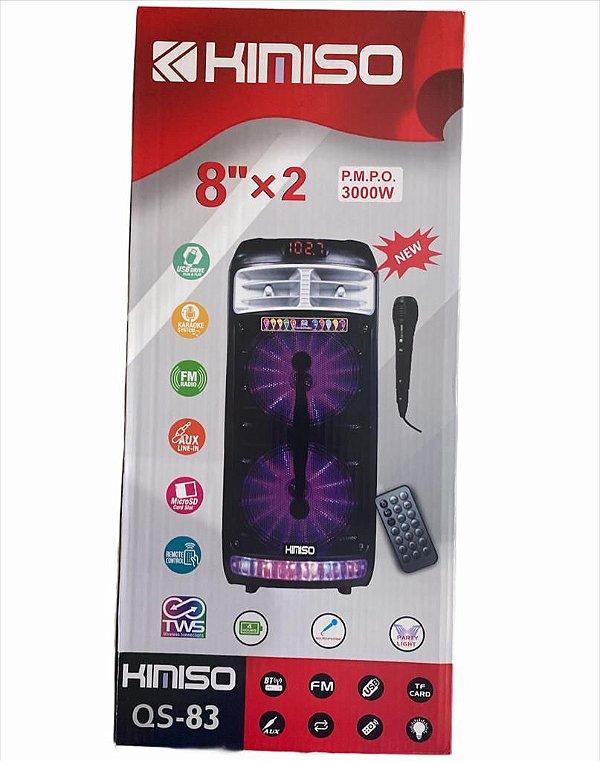 """CAIXA DE SOM 8""""X2 P.M.P.O BT 5.0 16W TWS KIMISO QS-83"""