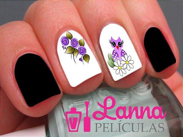 Películas ou Adesivos decorados para unhas  Corujinha floral