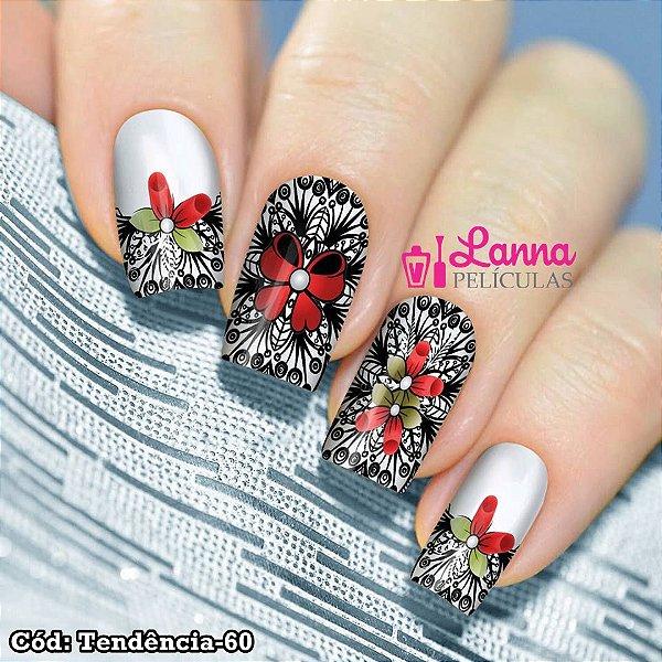 Adesivos ou Películas de unha- Modelo Floral