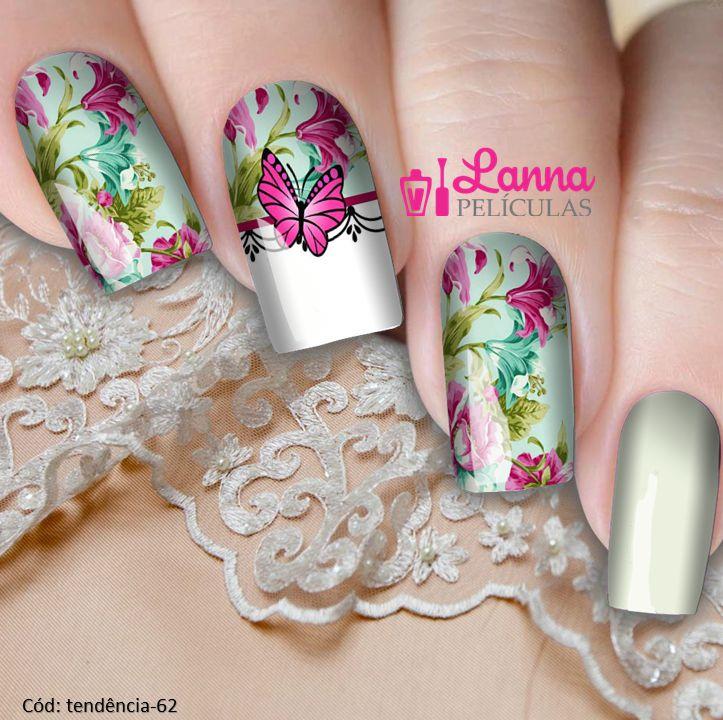 Películas de unhas - Floral e Borboleta