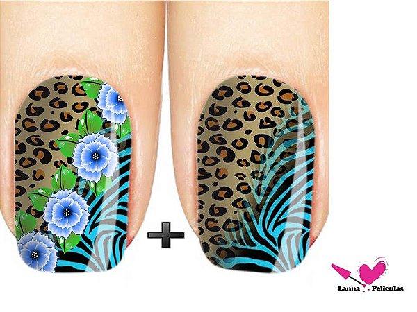 Películas ou Adesivos decorados para unhas  Onça Floral Zebrada