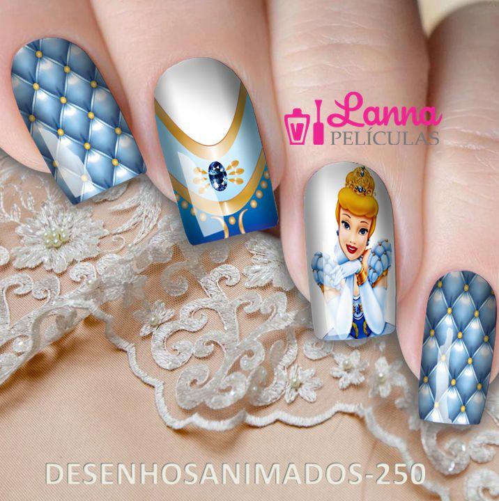 Películas ou Adesivos decorados para unhas  Cinderela